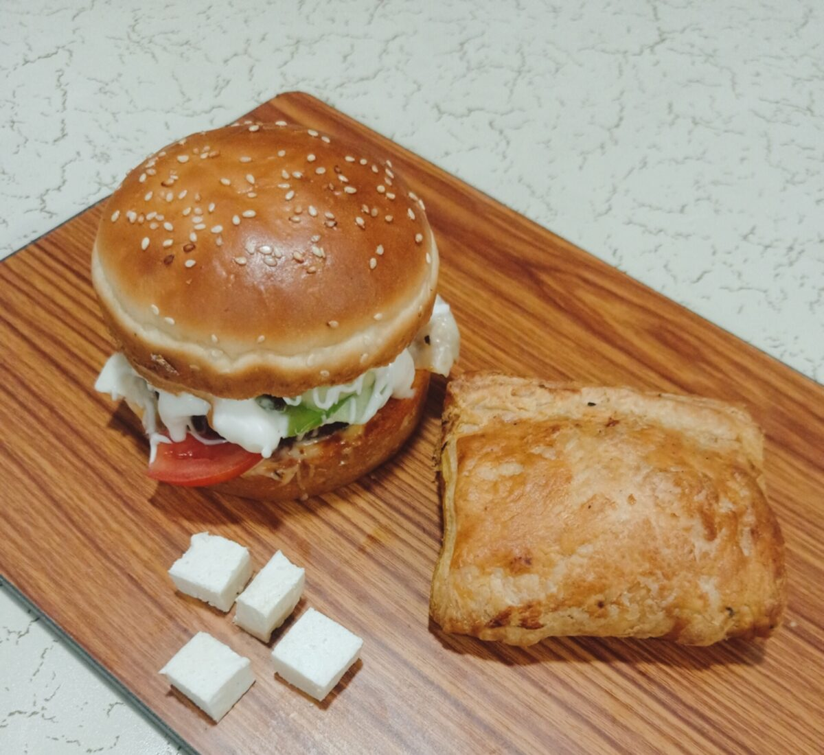 Paneer Pattis and Veg Burger